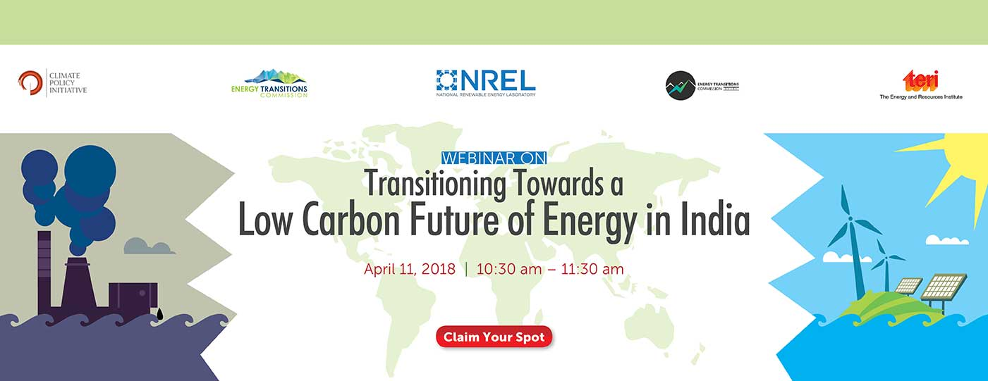 Webinar on transition towards a low carbon future of energy in India